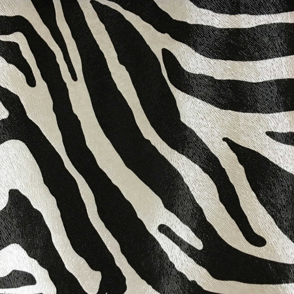 Chester - Zebra Print Vinyl Faux Leather Upholstery Fabric by the Yard - Available in 6 Colors - Domino - Top Fabric - 1