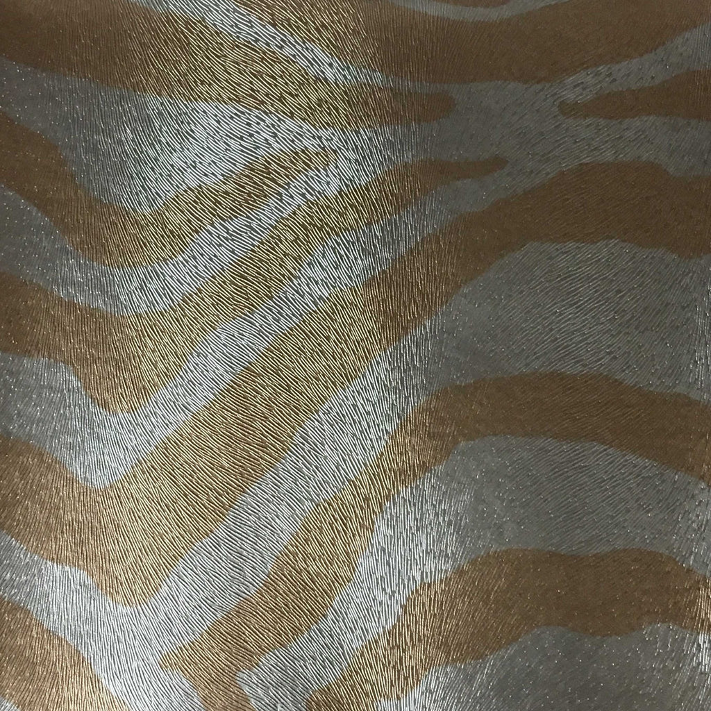 Chester - Zebra Print Vinyl Faux Leather Upholstery Fabric by the Yard - Available in 6 Colors - Gold - Top Fabric - 5