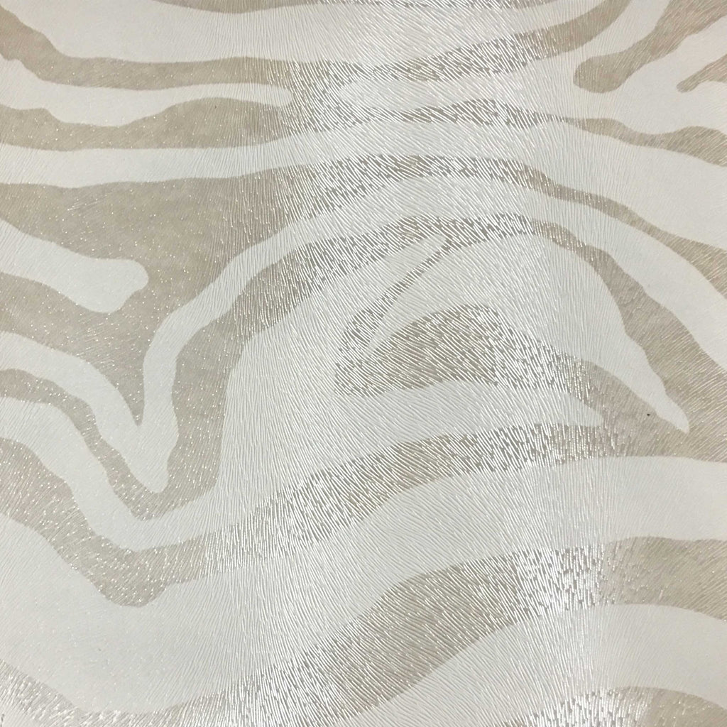 Chester - Zebra Print Vinyl Faux Leather Upholstery Fabric by the Yard - Available in 6 Colors - Pearl - Top Fabric - 2