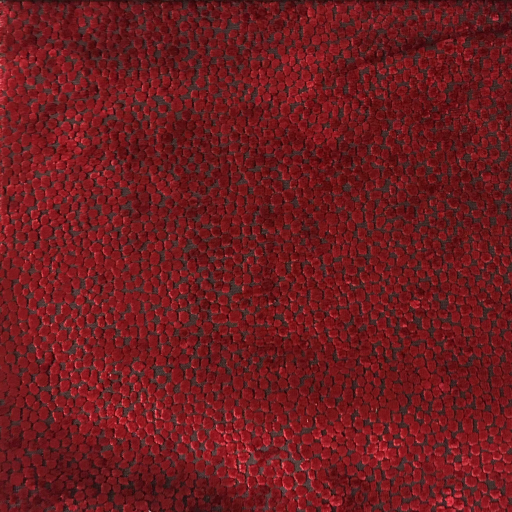 Florence Dots - Burnout Velvet Upholstery Fabric by the Yard - Available in 18 Colors - Moroccan Red - Top Fabric - 2