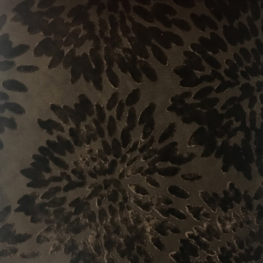 Florence Fiori - Floral Pattern Burnout Velvet Upholstery Fabric by the Yard - Available in 10 Colors - Coffee Bean - Top Fabric - 4