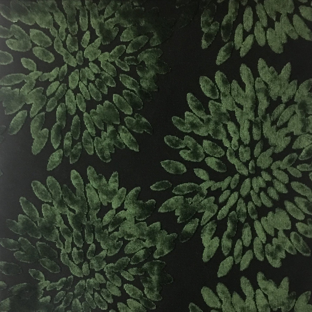 Florence Fiori - Floral Pattern Burnout Velvet Upholstery Fabric by the Yard - Available in 10 Colors - Emerald - Top Fabric - 3