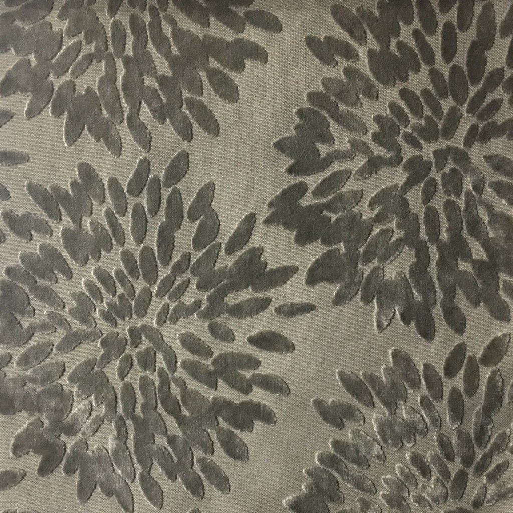 Florence Fiori - Floral Pattern Burnout Velvet Upholstery Fabric by the Yard - Available in 10 Colors - Plaza Taupe - Top Fabric - 10
