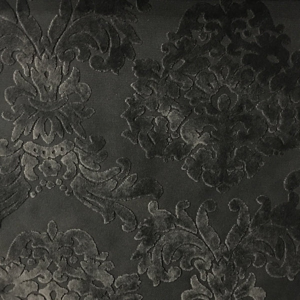 Florence Palace - Damask Pattern Burnout Velvet Upholstery Fabric by the Yard - Available in 9 Colors - Caviar - Top Fabric - 1