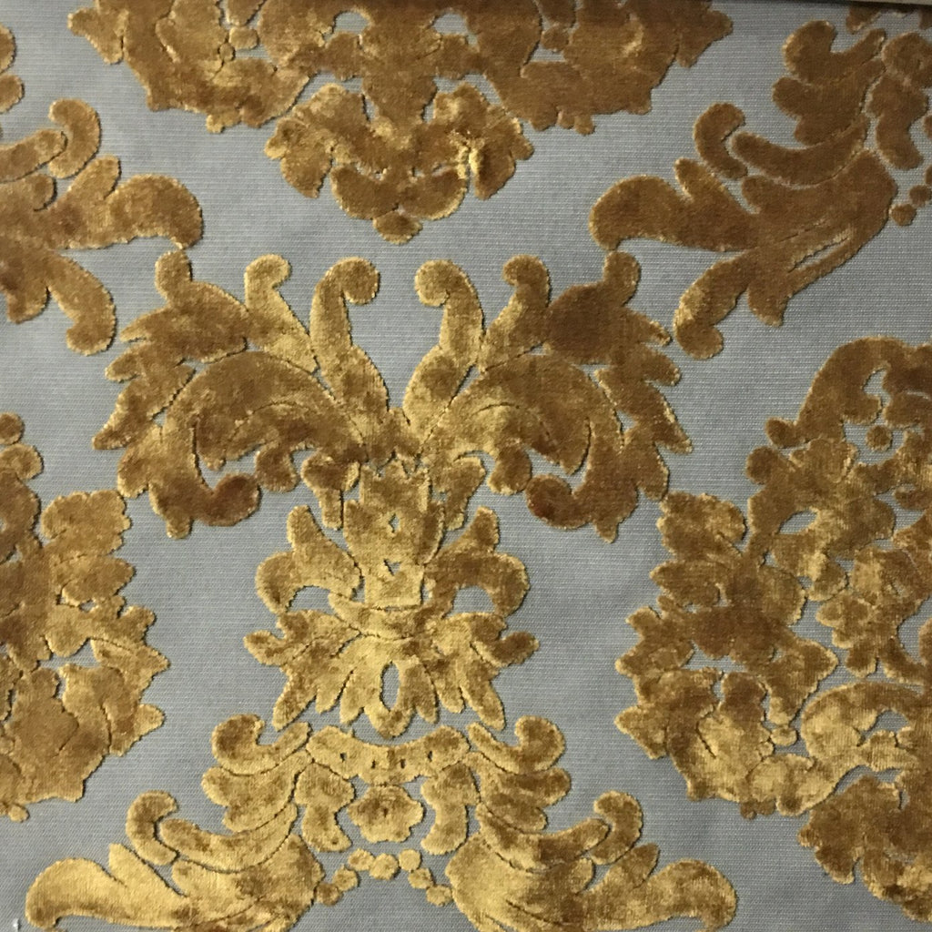 Florence Palace - Damask Pattern Burnout Velvet Upholstery Fabric by the Yard - Available in 9 Colors - Antique Gold - Top Fabric - 8