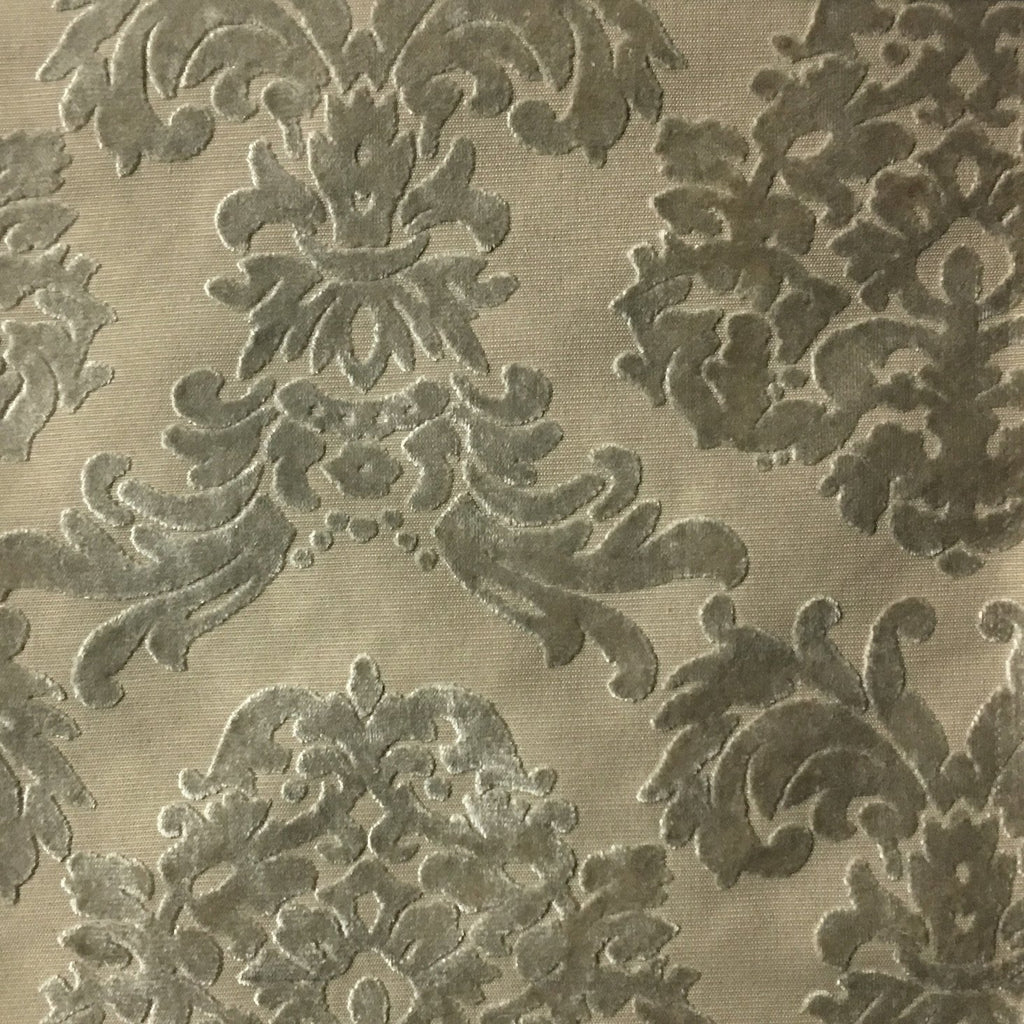 Florence Palace - Damask Pattern Burnout Velvet Upholstery Fabric by the Yard - Available in 9 Colors - Oyster - Top Fabric - 3