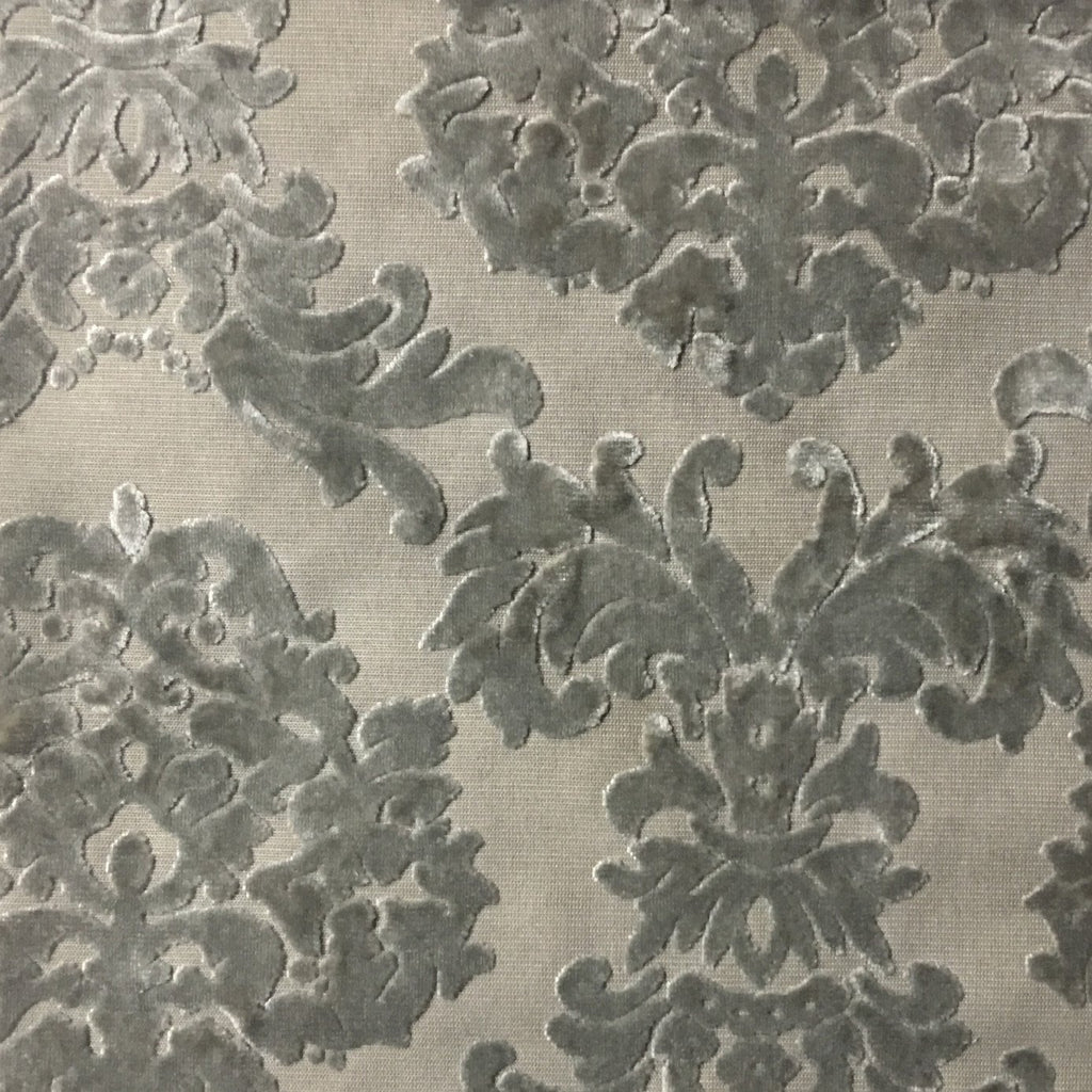 Florence Palace - Damask Pattern Burnout Velvet Upholstery Fabric by the Yard - Available in 9 Colors - Plaza Taupe - Top Fabric - 4