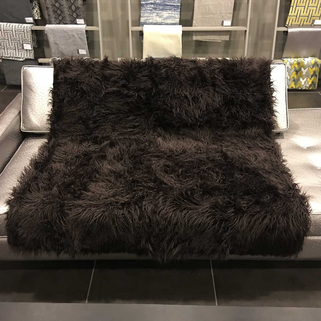 Gigi - Luxurious Shaggy Faux Fur Throw Blanket - Available in 12 Colors - Bark - Top Fabric - 5