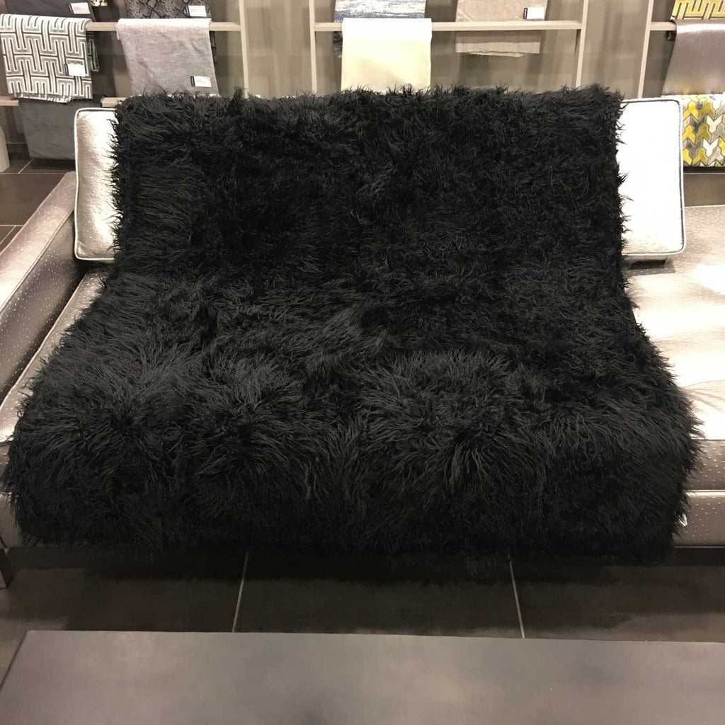 Gigi - Luxurious Shaggy Faux Fur Throw Blanket - Available in 12 Colors - Black - Top Fabric - 7
