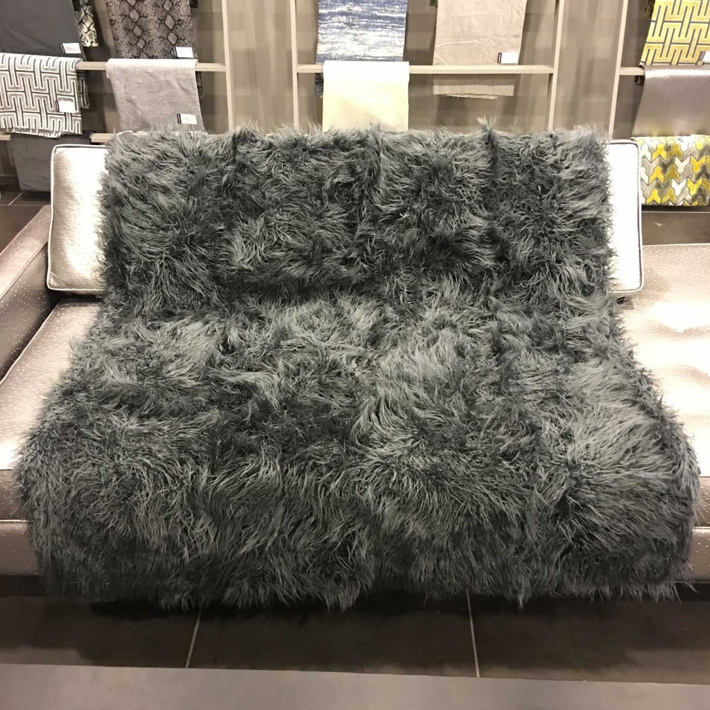 Gigi - Luxurious Shaggy Faux Fur Throw Blanket - Available in 12 Colors - Charcoal - Top Fabric - 9