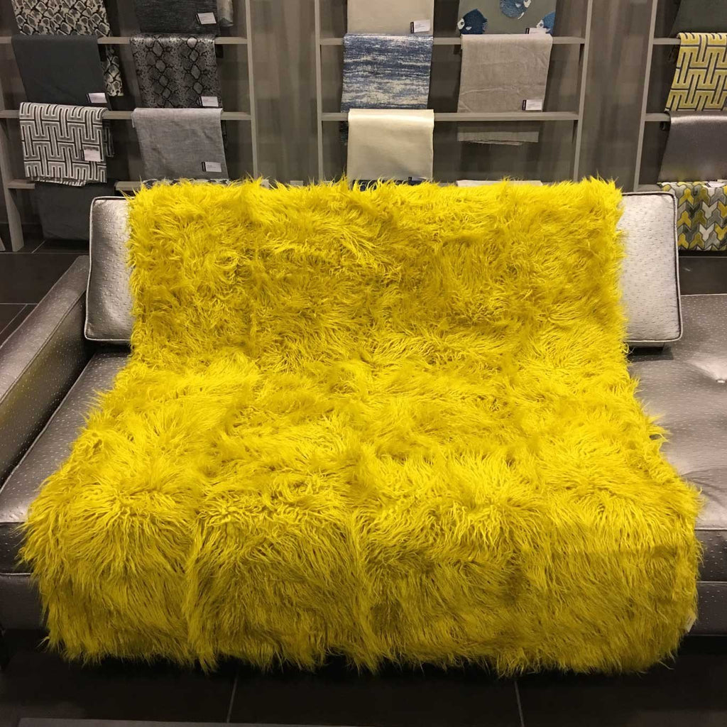 Gigi - Luxurious Shaggy Faux Fur Throw Blanket - Available in 12 Colors - Curry - Top Fabric - 17