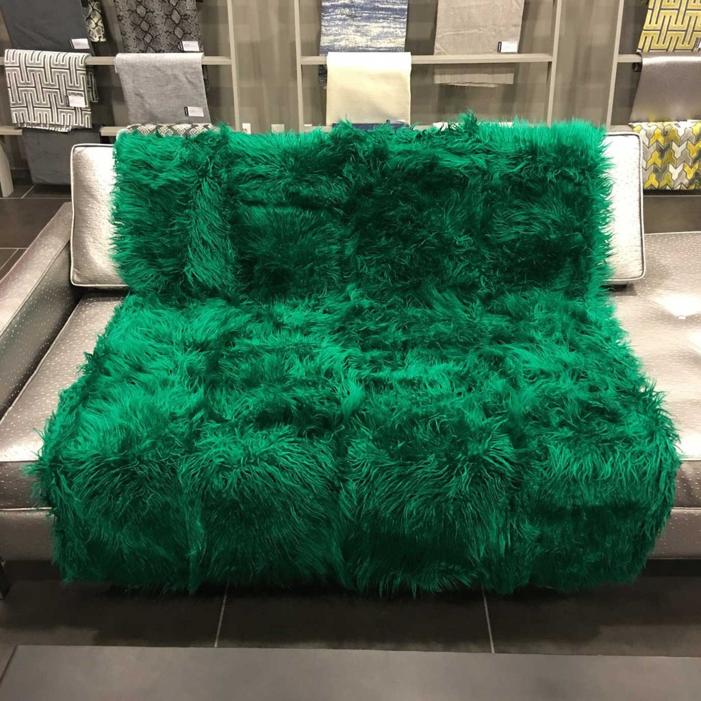 Gigi - Luxurious Shaggy Faux Fur Throw Blanket - Available in 12 Colors - Emerald - Top Fabric - 19