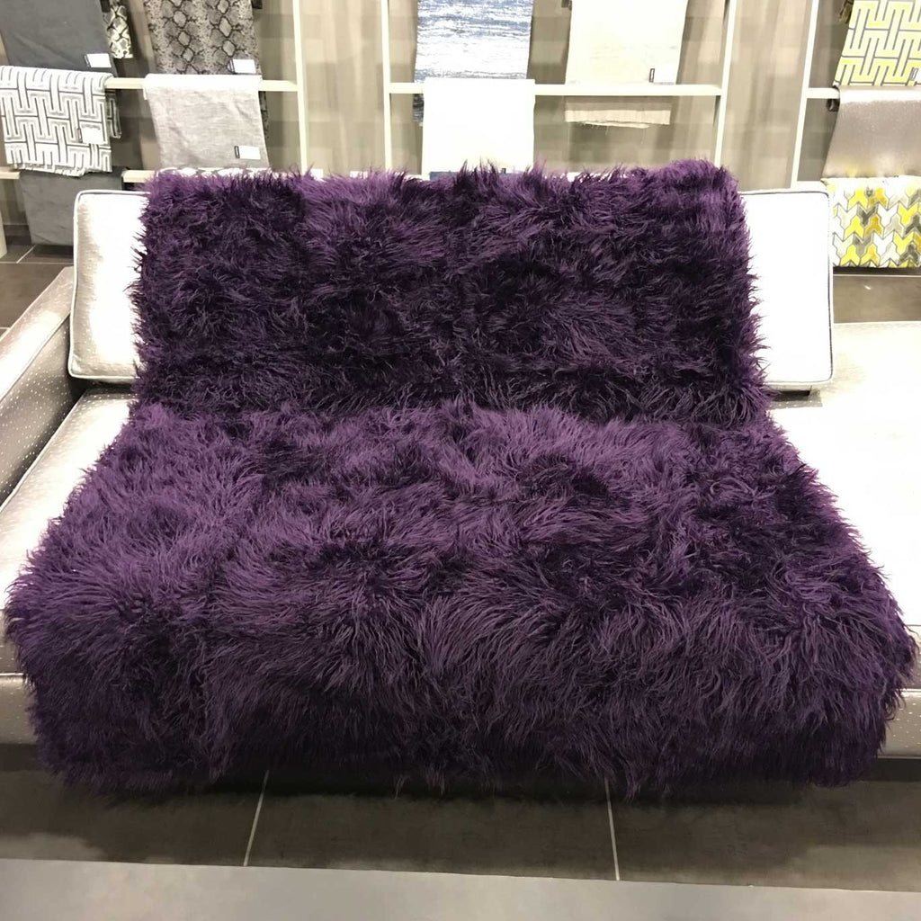 Gigi - Luxurious Shaggy Faux Fur Throw Blanket - Available in 12 Colors - Fig - Top Fabric - 21