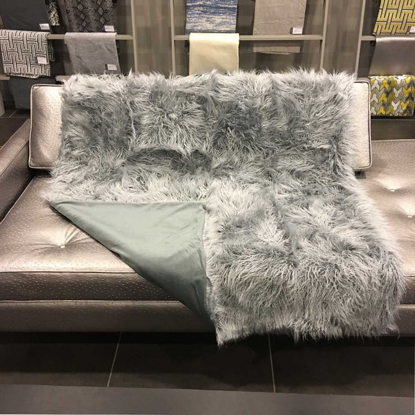 Gigi - Luxurious Shaggy Faux Fur Throw Blanket - Available in 12 Colors - Feather - Top Fabric - 1