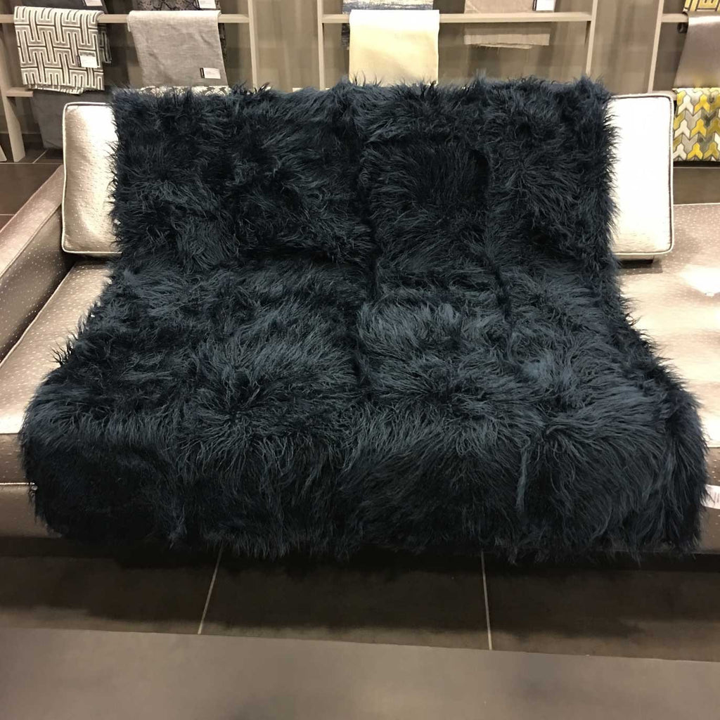 Gigi - Luxurious Shaggy Faux Fur Throw Blanket - Available in 12 Colors - Indigo - Top Fabric - 11