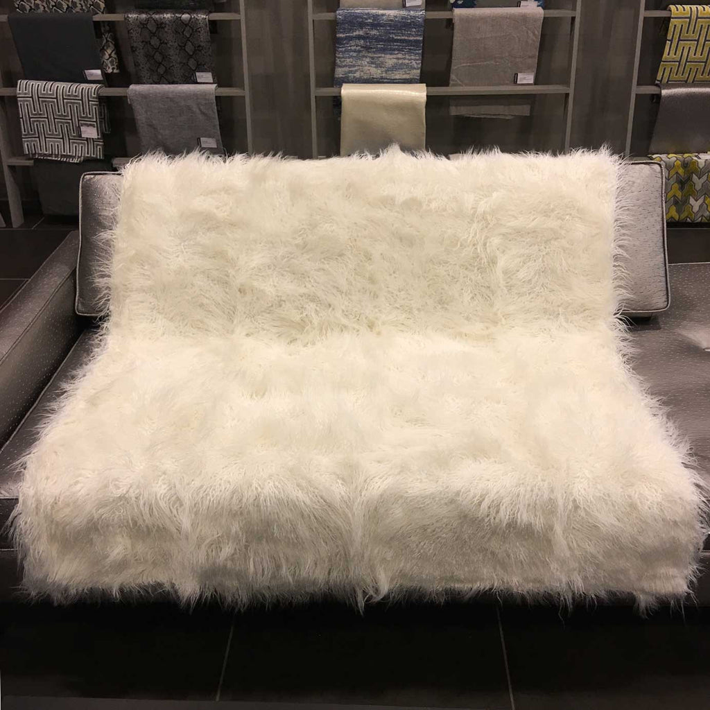 Gigi - Luxurious Shaggy Faux Fur Throw Blanket - Available in 12 Colors - Ivory - Top Fabric - 15