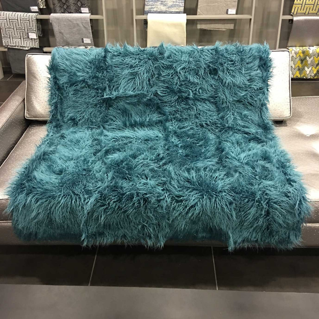 Gigi - Luxurious Shaggy Faux Fur Throw Blanket - Available in 12 Colors - Laguna - Top Fabric - 3