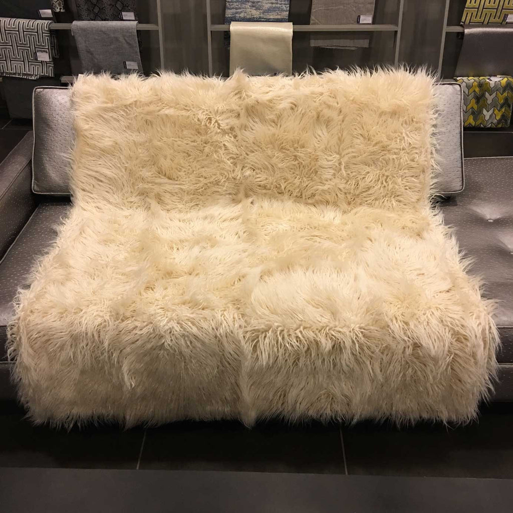 Gigi - Luxurious Shaggy Faux Fur Throw Blanket - Available in 12 Colors - Vanilla - Top Fabric - 13