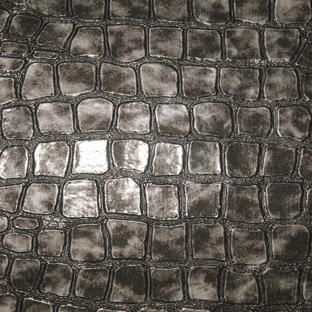 Regent - Crocodile Print Vinyl Upholstery Fabric by the Yard - Available in 4 Colors - Charcoal - Top Fabric - 1