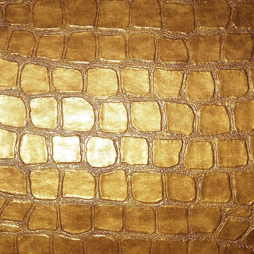 Regent - Crocodile Print Vinyl Upholstery Fabric by the Yard - Available in 4 Colors - Gold - Top Fabric - 2