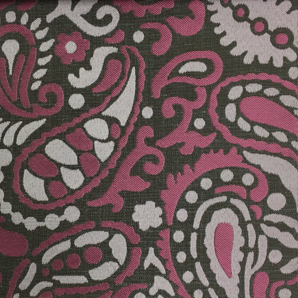 Harley - Modern Paisley Linen Jacquard Fabric by the Yard - Available in 8 Colors - Amethyst - Top Fabric - 5