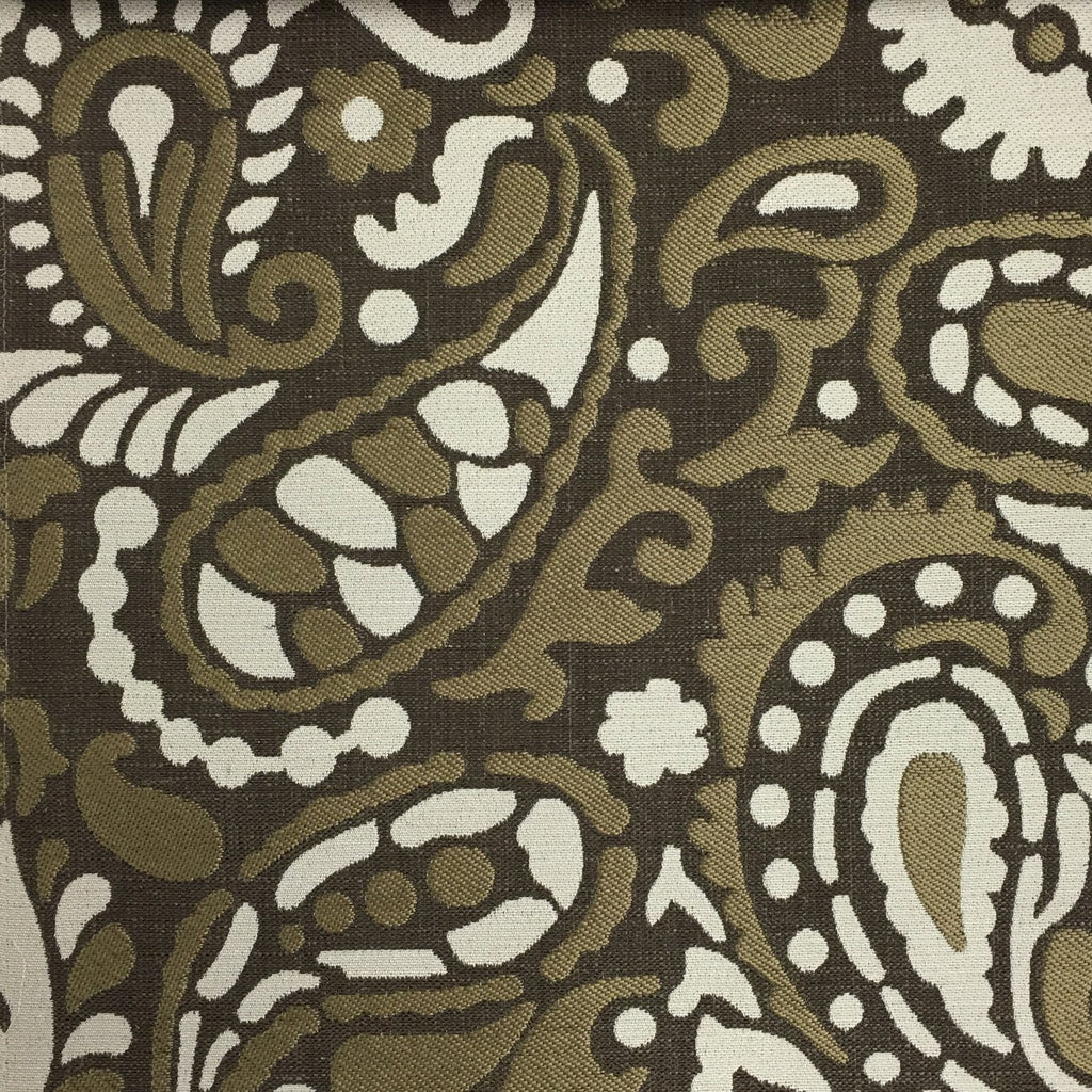 Harley - Modern Paisley Linen Jacquard Fabric by the Yard - Available in 8 Colors - Bark - Top Fabric - 4