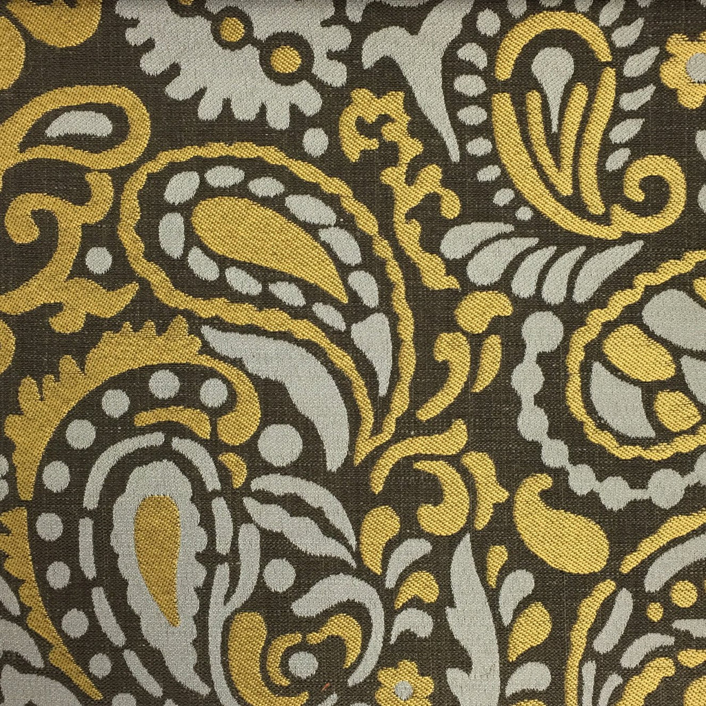 Harley - Modern Paisley Linen Jacquard Fabric by the Yard - Available in 8 Colors - Golden - Top Fabric - 6