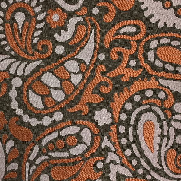 Harley - Modern Paisley Linen Jacquard Fabric by the Yard - Available in 8 Colors - Driftwood - Top Fabric - 1