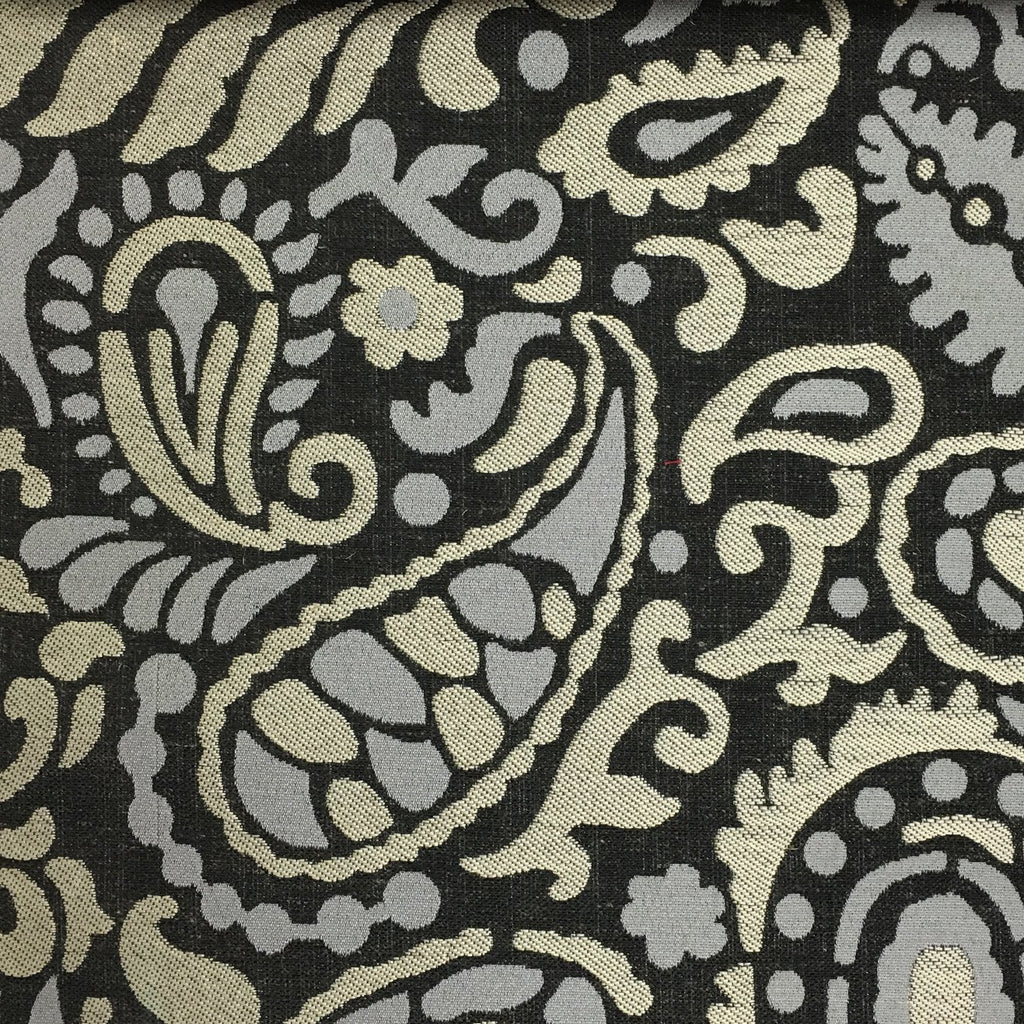 Harley - Modern Paisley Linen Jacquard Fabric by the Yard - Available in 8 Colors - Zinc - Top Fabric - 8