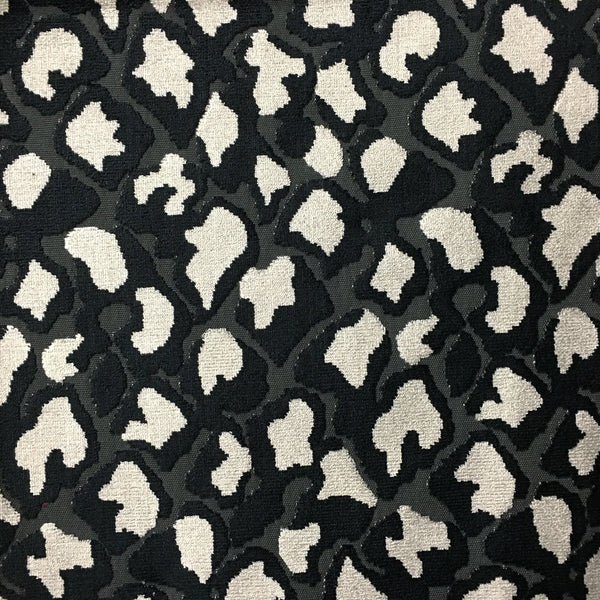 Hendrix - Leopard Print Cut Velvet Fabric Upholstery Fabric by the Yard - Available in 15 Colors - Domino - Top Fabric - 1