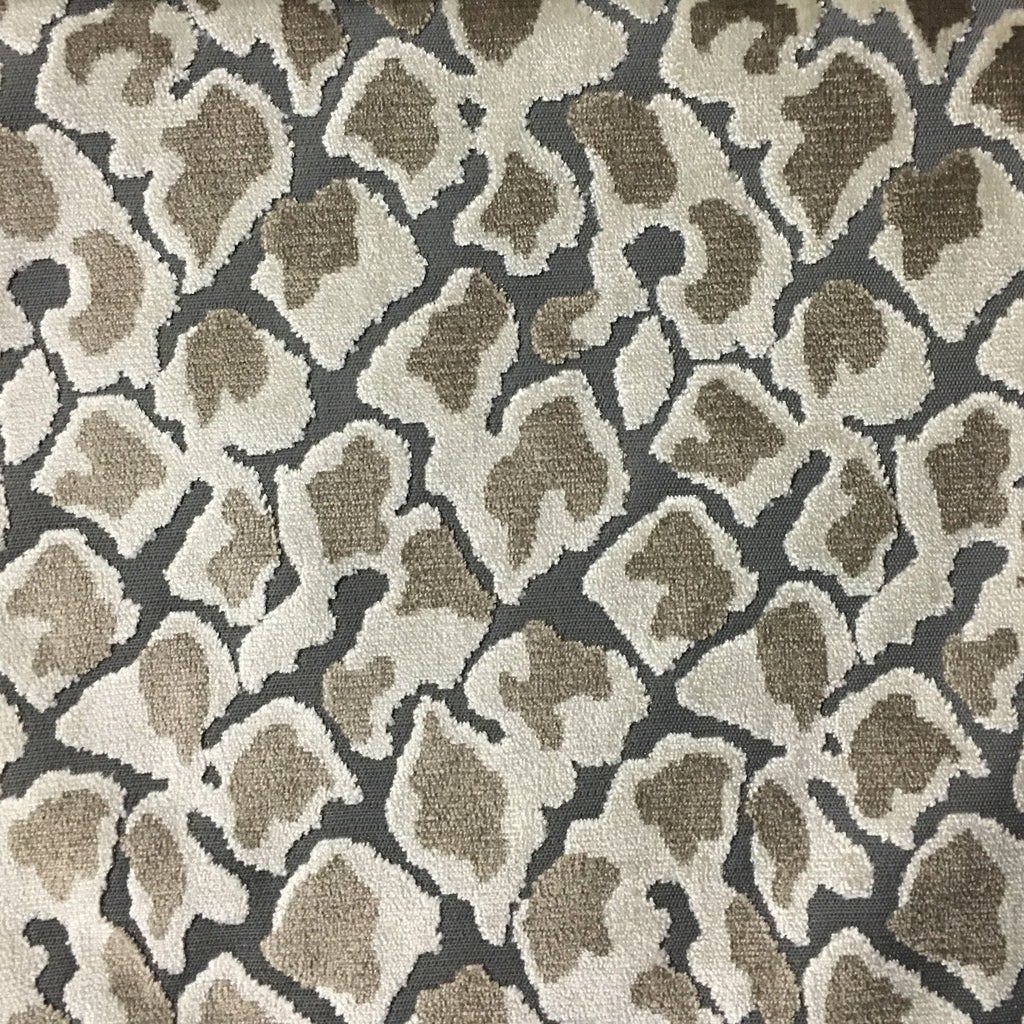 Hendrix - Leopard Print Cut Velvet Fabric Upholstery Fabric by the Yard - Available in 15 Colors - Driftwood - Top Fabric - 4