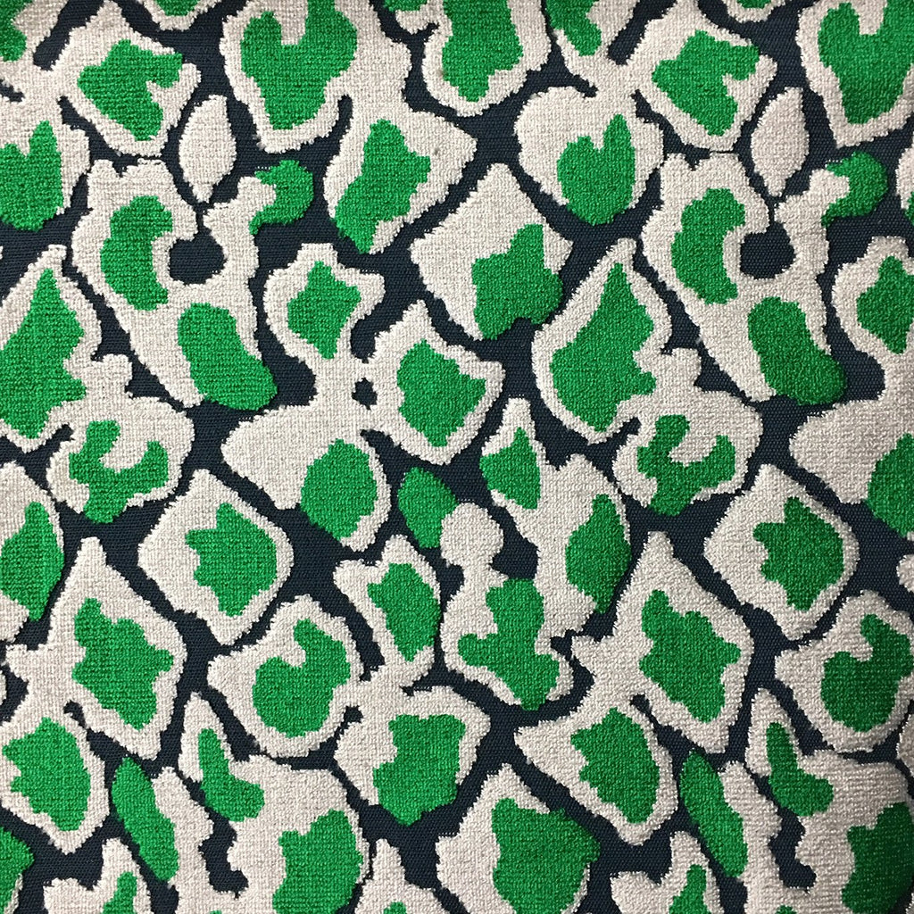 Hendrix - Leopard Print Cut Velvet Fabric Upholstery Fabric by the Yard - Available in 15 Colors - Emerald - Top Fabric - 11