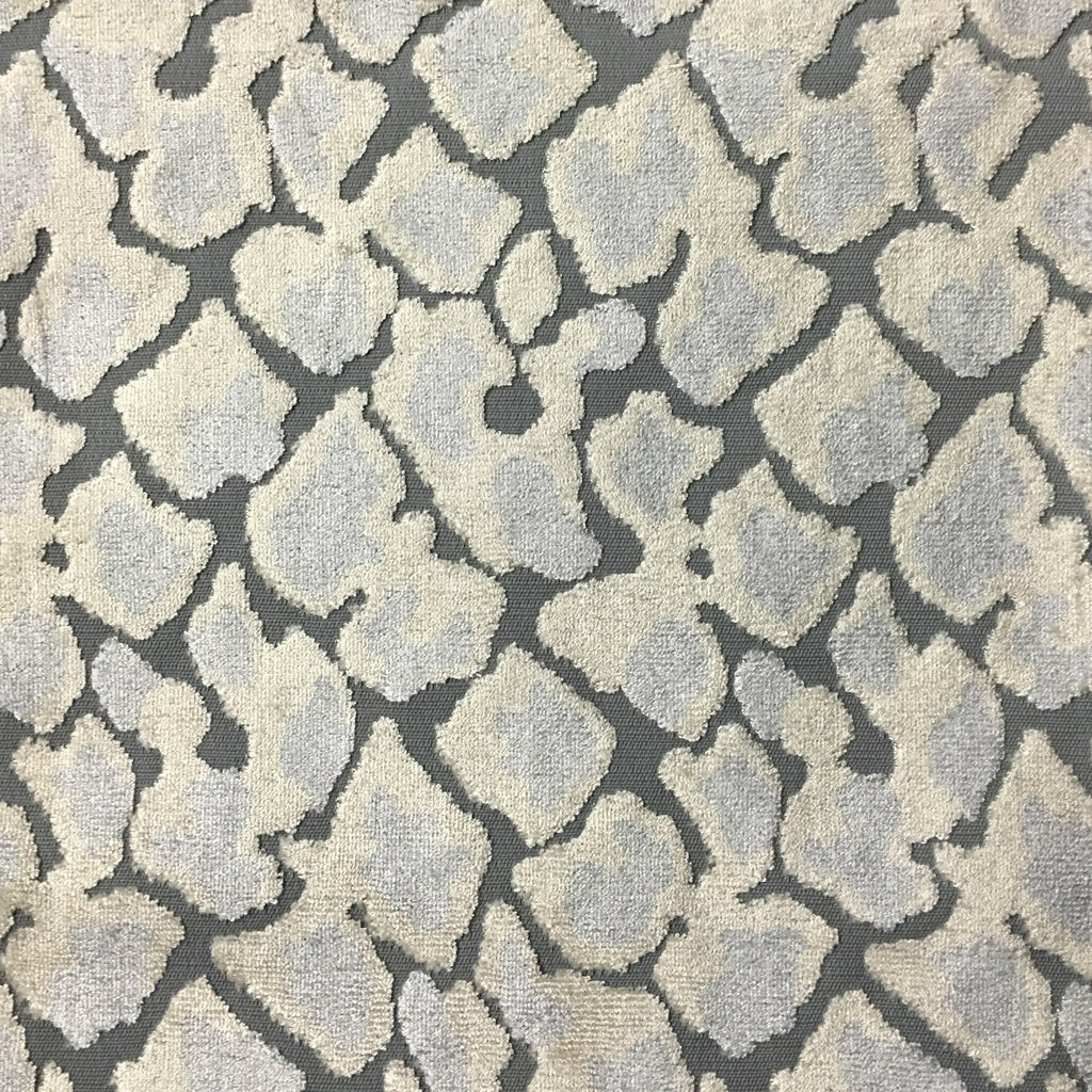 Hendrix - Leopard Print Cut Velvet Fabric Upholstery Fabric by the Yard - Available in 15 Colors - Glacier - Top Fabric - 8