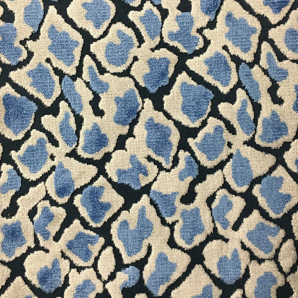 Hendrix - Leopard Print Cut Velvet Fabric Upholstery Fabric by the Yard - Available in 15 Colors - Indigo - Top Fabric - 9