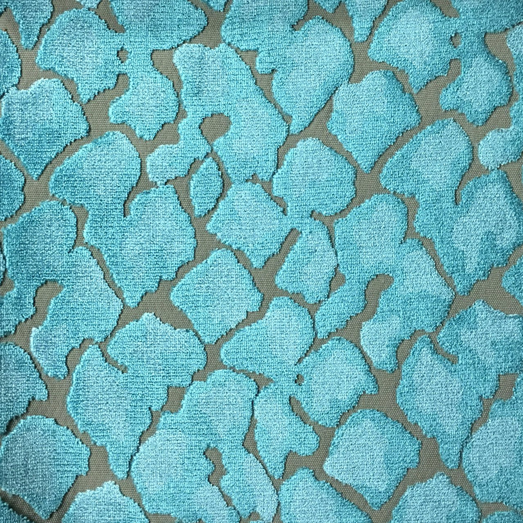 Hendrix - Leopard Print Cut Velvet Fabric Upholstery Fabric by the Yard - Available in 15 Colors - Laguna - Top Fabric - 10