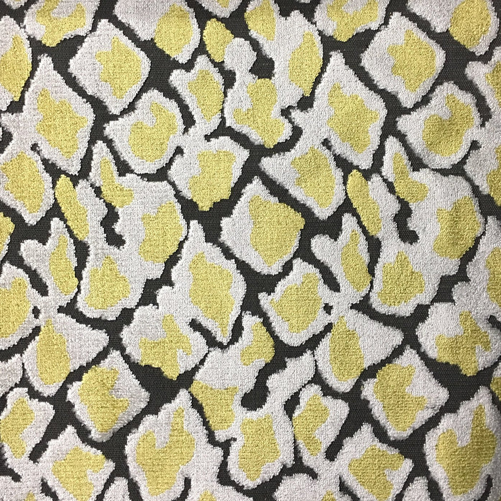 Hendrix - Leopard Print Cut Velvet Fabric Upholstery Fabric by the Yard - Available in 15 Colors - Sunny - Top Fabric - 12