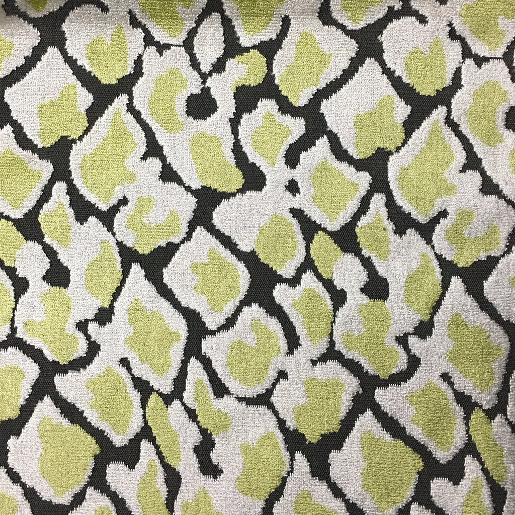 Hendrix - Leopard Print Cut Velvet Fabric Upholstery Fabric by the Yard - Available in 15 Colors - Wheatgrass - Top Fabric - 3