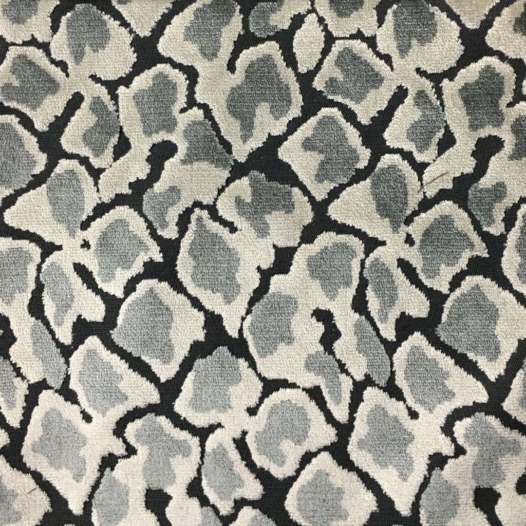 Hendrix - Leopard Print Cut Velvet Fabric Upholstery Fabric by the Yard - Available in 15 Colors - Zinc - Top Fabric - 7