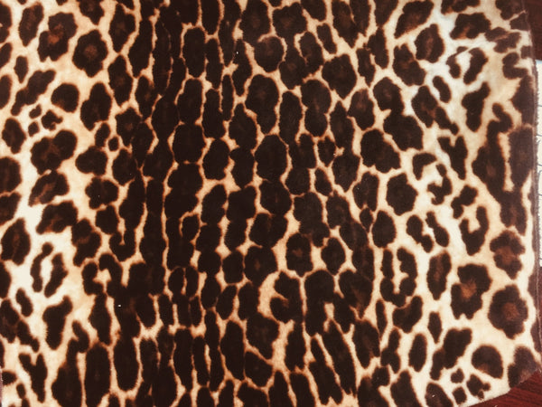 Safari - Leopard - Short Pile Velvet Fabric Drapery, Pillow, & Upholstery Fabric by the Yard - Available in 2 Colors - Black / With Backing - Top Fabric - 1