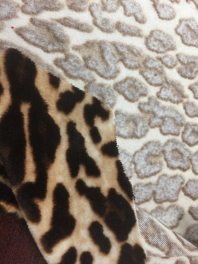 Safari - Leopard - Short Pile Velvet Fabric Drapery, Pillow, & Upholstery Fabric by the Yard - Available in 2 Colors