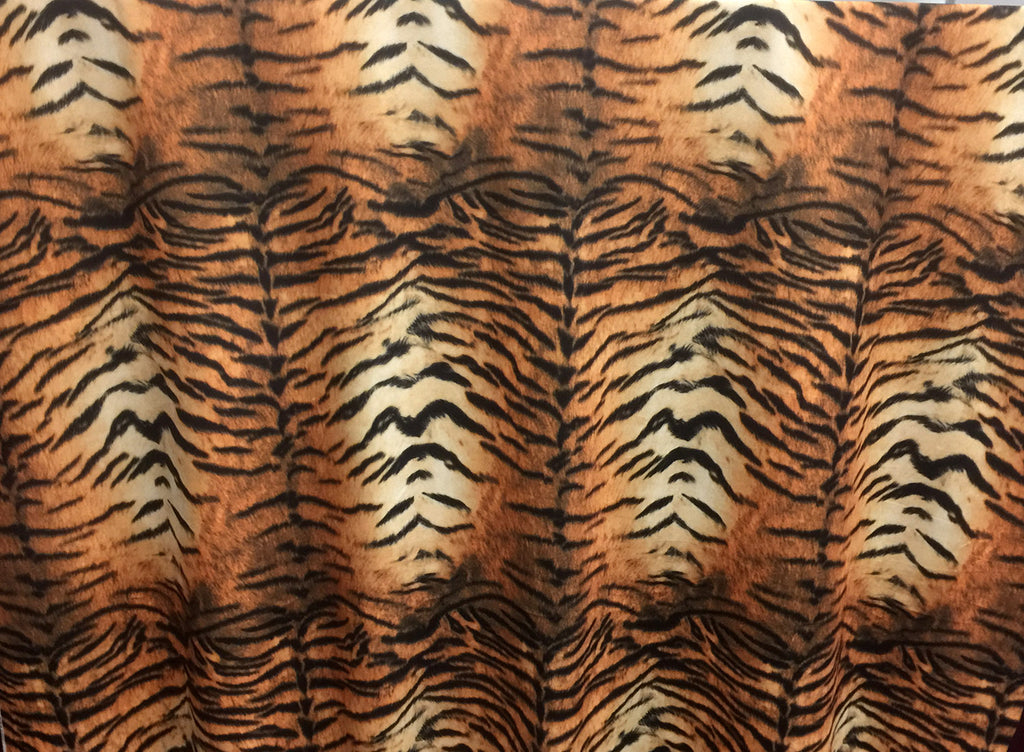 Safari - Tiger - Short Pile Velvet Fabric Drapery, Pillow, & Upholstery Fabric by the Yard - Available in 2 Colors