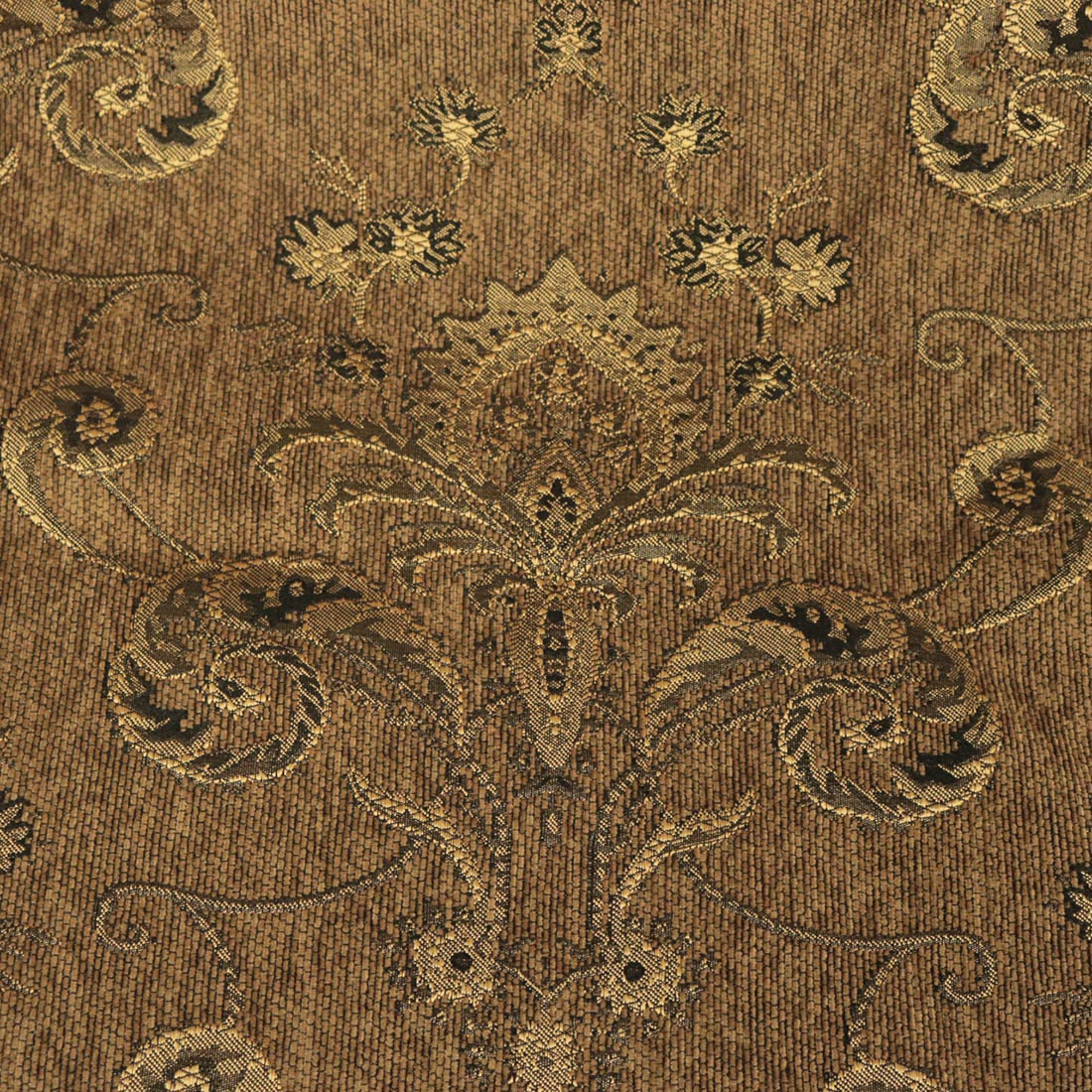 All Over Detailed Damask Heavyweight Soft Chenille In Orange Upholstery Fabric