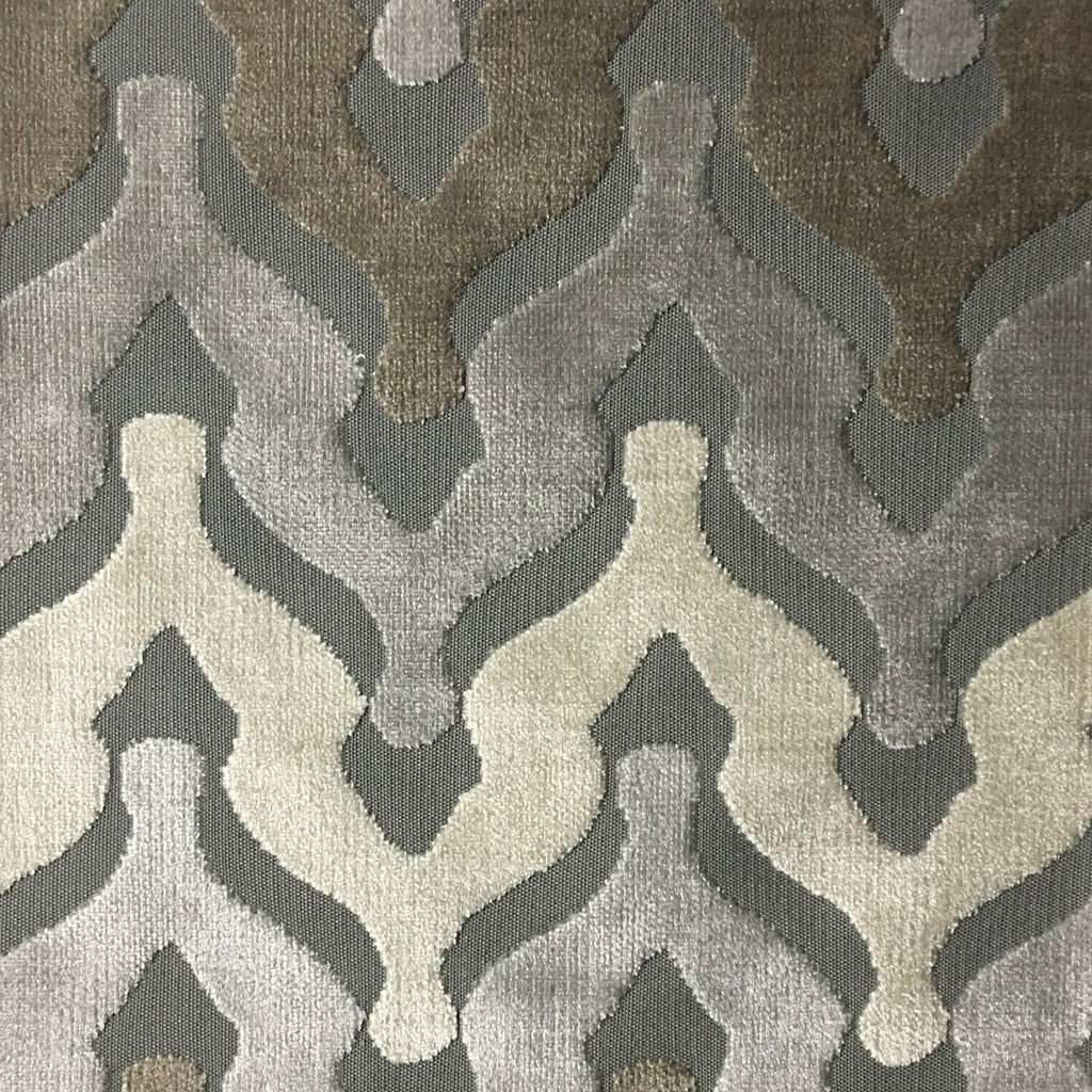 Leicester - Cut Velvet Fabric Drapery & Upholstery Fabric by the Yard - Available in 13 Colors - Driftwood - Top Fabric - 12