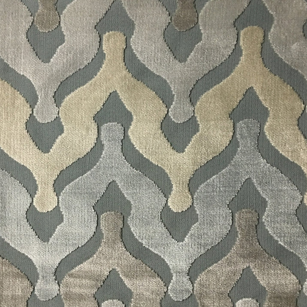 Leicester - Cut Velvet Fabric Drapery & Upholstery Fabric by the Yard - Available in 13 Colors - Glacier - Top Fabric - 10