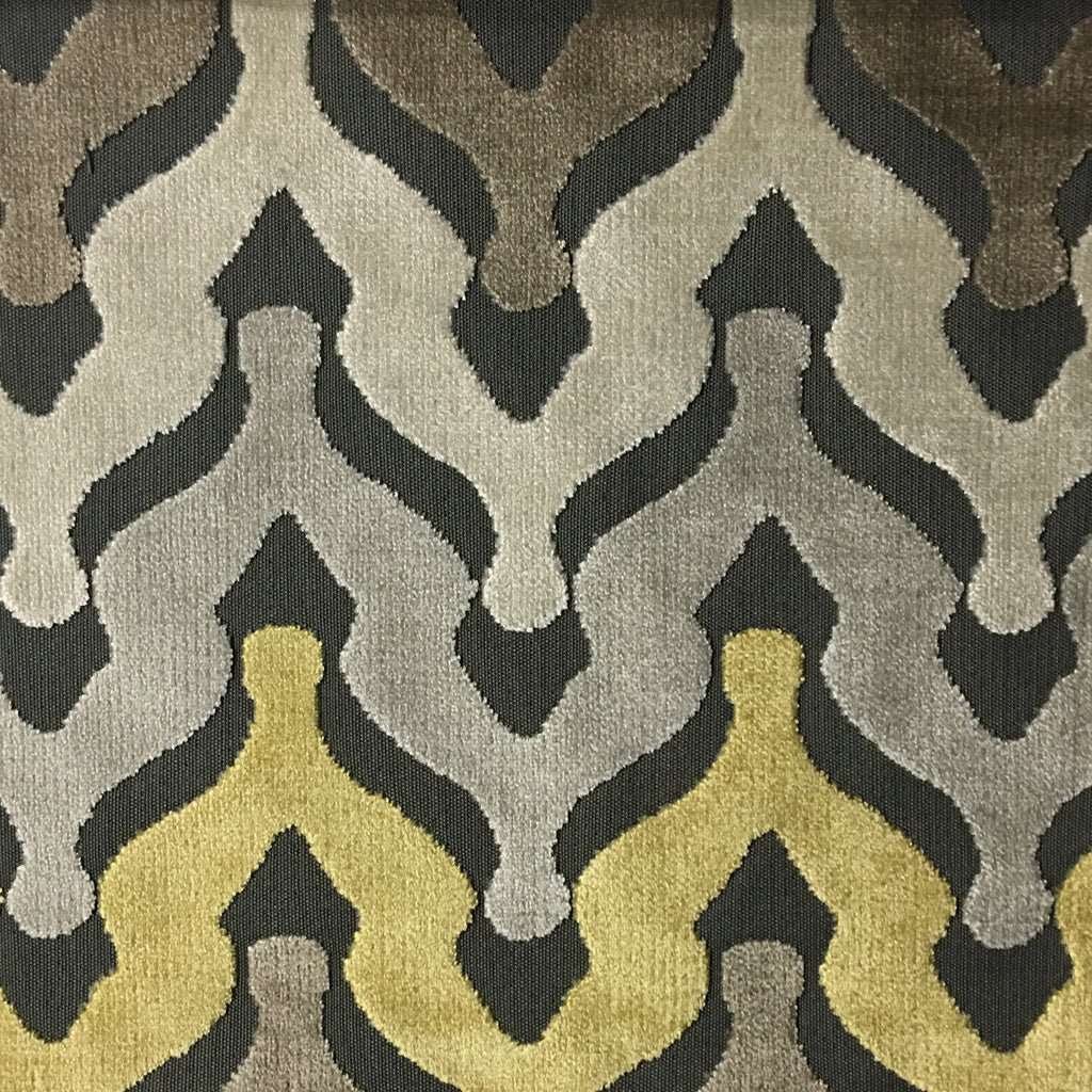 Leicester - Cut Velvet Fabric Drapery & Upholstery Fabric by the Yard - Available in 13 Colors - Golden - Top Fabric - 5
