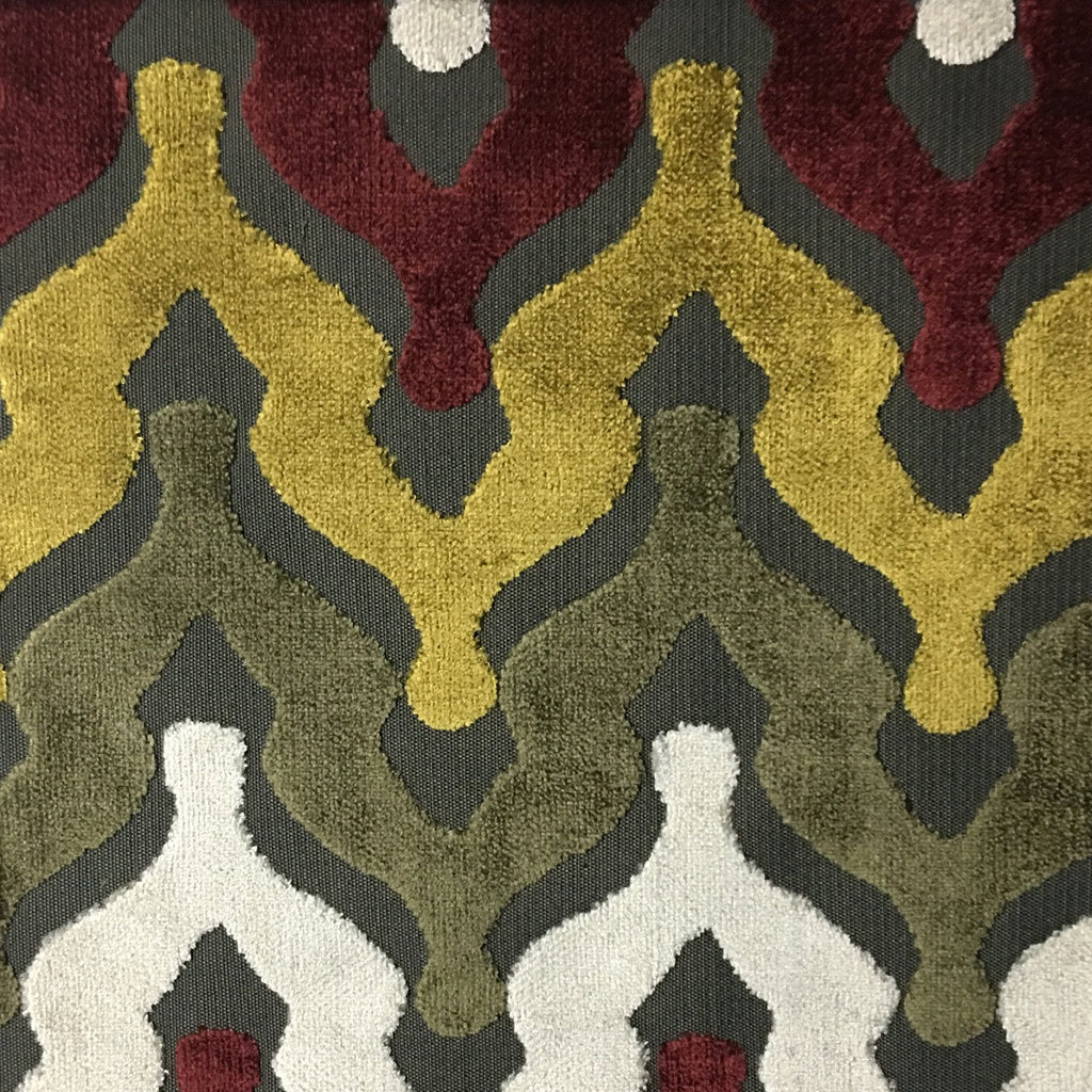 Leicester - Cut Velvet Fabric Drapery & Upholstery Fabric by the Yard - Available in 13 Colors - Henna - Top Fabric - 4