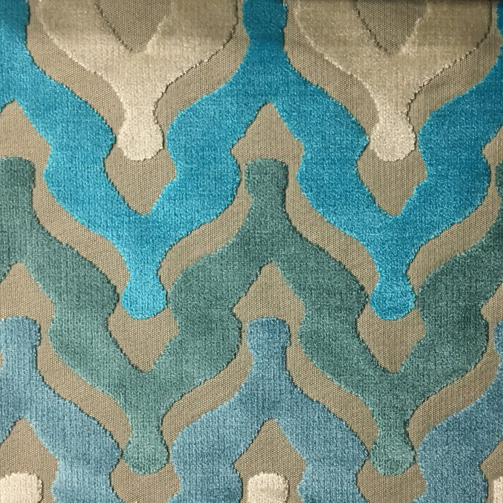 Leicester - Cut Velvet Fabric Drapery & Upholstery Fabric by the Yard - Available in 13 Colors - Peacock - Top Fabric - 7