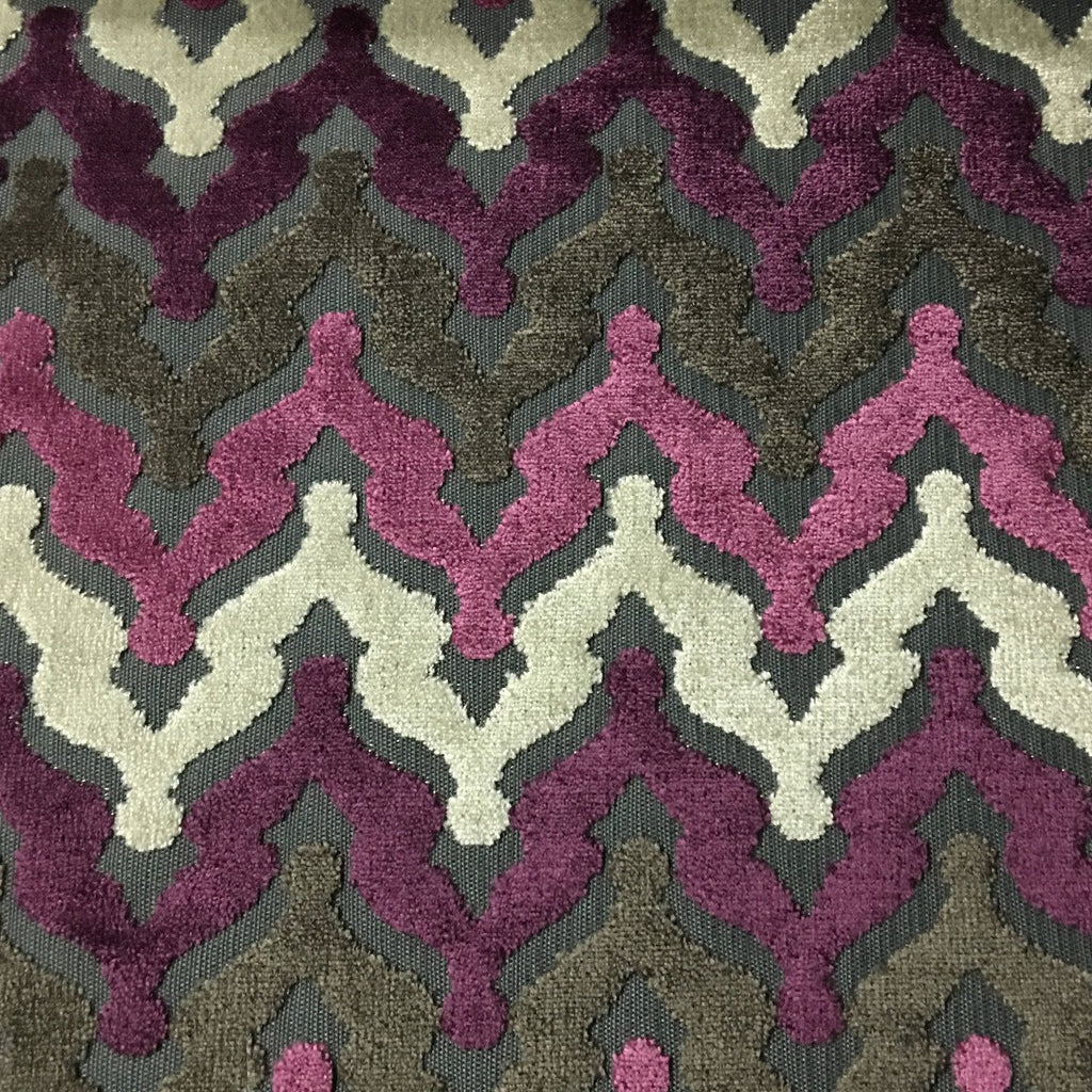 Lennon - Cut Velvet Fabric Drapery & Upholstery Fabric by the Yard - Available in 8 Colors - Amethyst - Top Fabric - 7
