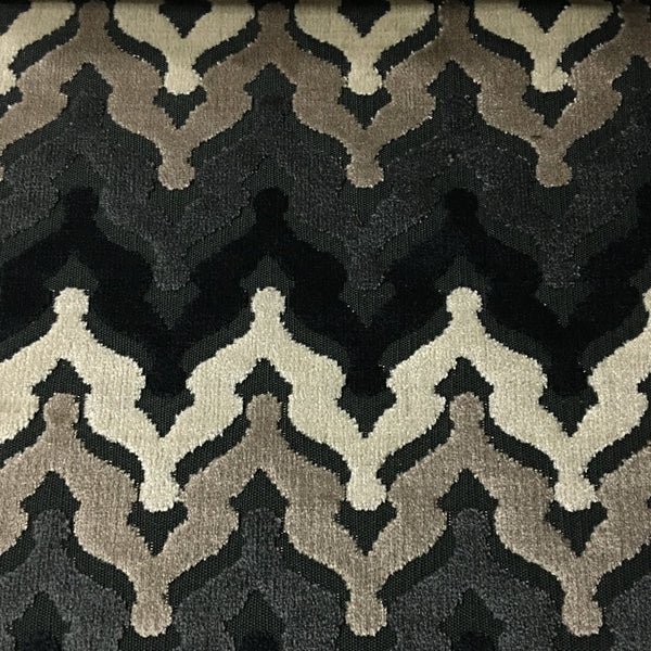 Lennon - Cut Velvet Fabric Drapery & Upholstery Fabric by the Yard - Available in 8 Colors - Domino - Top Fabric - 1