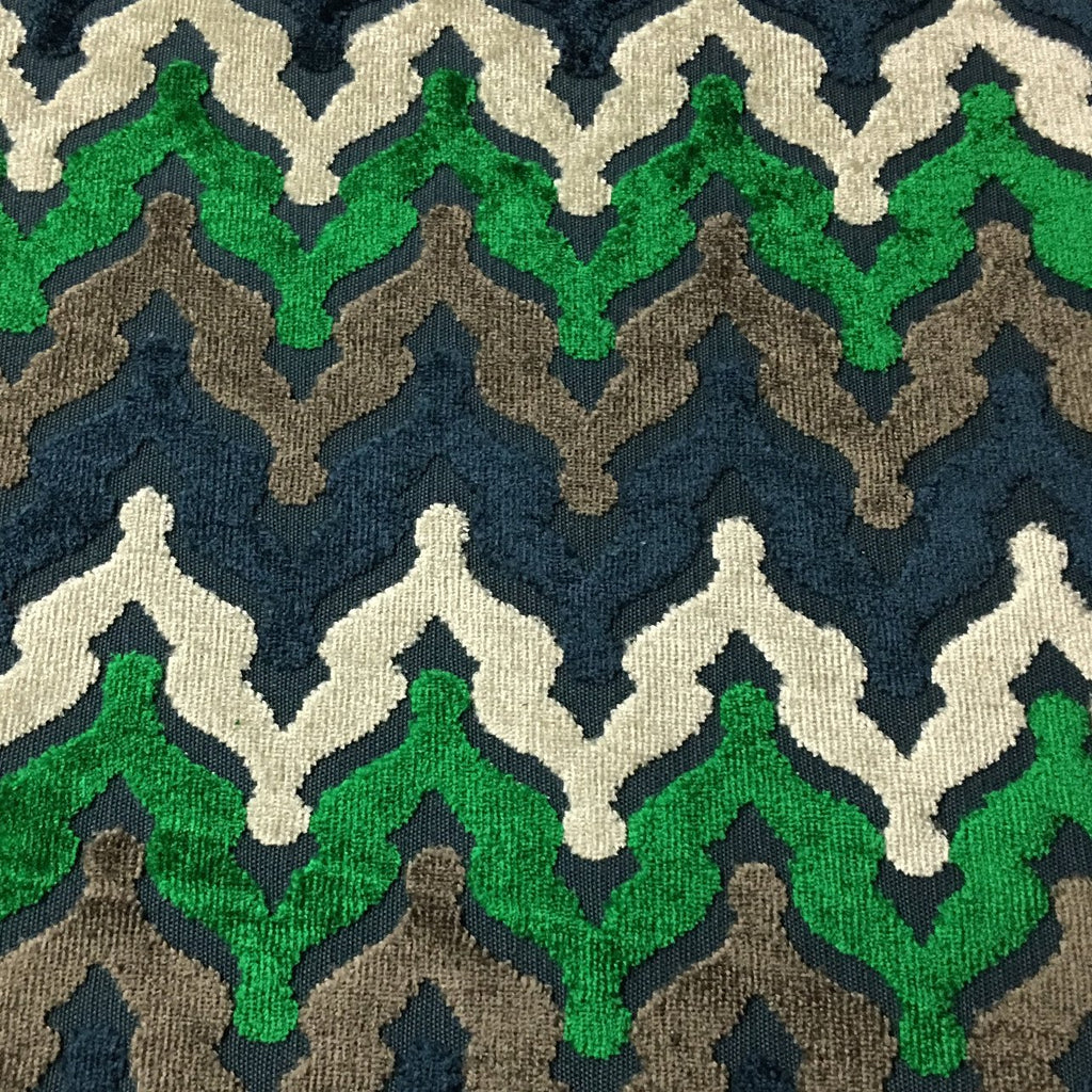 Lennon - Cut Velvet Fabric Drapery & Upholstery Fabric by the Yard - Available in 8 Colors - Emerald - Top Fabric - 6